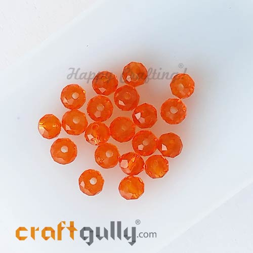 Glass Beads 4.5mm - Rondelle Faceted - Trans. Orange - 40 Beads