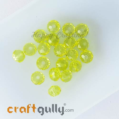 Glass Beads 4.5mm - Rondelle Faceted - Trans. Sunflower Yellow - 40 Beads