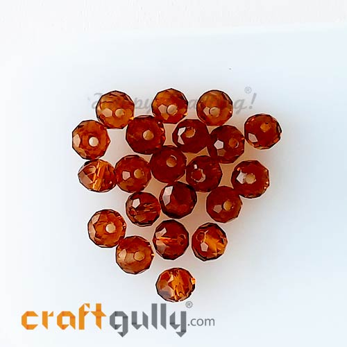 Glass Beads 4.5mm - Rondelle Faceted - Trans. Champagne - 40 Beads