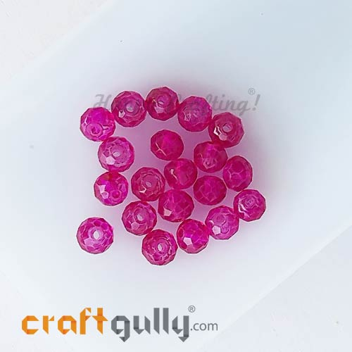 Glass Beads 4.5mm - Rondelle Faceted - Trans. Dark Pink - 40 Beads