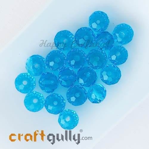 Glass Beads 6mm - Rondelle Faceted - Trans. Sky Blue - 20 Beads