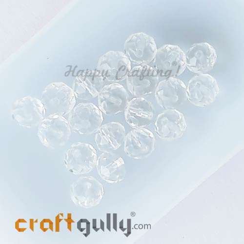 Glass Beads 6mm - Rondelle Faceted - Clear - 20 Beads