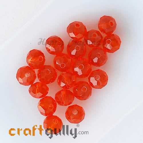 Glass Beads 6mm - Rondelle Faceted - Trans. Dark Orange - 20 Beads