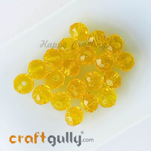 Glass Beads 6mm - Rondelle Faceted - Trans. Yellow - 20 Beads