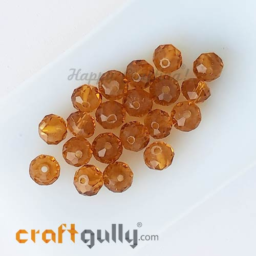 Glass Beads 6mm - Rondelle Faceted - Trans. Ochre - 20 Beads