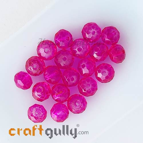 Glass Beads 6mm - Rondelle Faceted - Trans. Dark Pink - 20 Beads