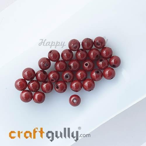 Glass Beads 6mm - Round - Dark Red - 30 Beads