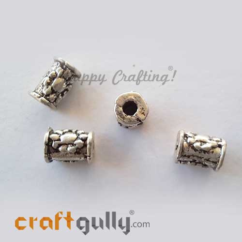 German Silver Beads 4mm - Pipe #2 - Silver Finish - 4 Beads