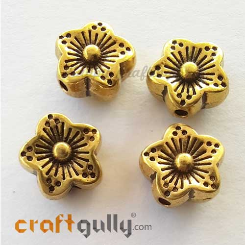 German Silver Beads 8.5mm - Flower #5 - Golden Plating - 4 Beads