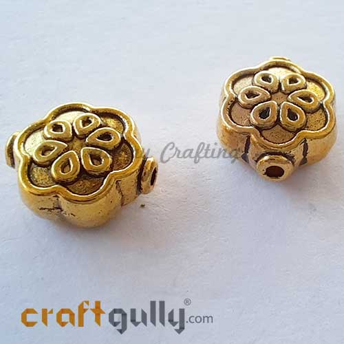 German Silver Beads 10mm - Flower #8 - Golden Plating - 2 Beads