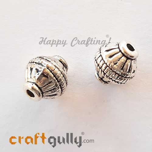 German Silver Beads 10mm - Design #4 - Silver Finish - 2 Beads