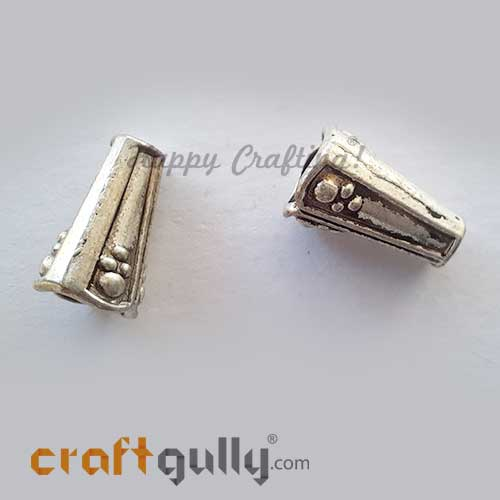 Bead Caps 8mm German Silver Design #14 - Silver Finish - Pack of 2