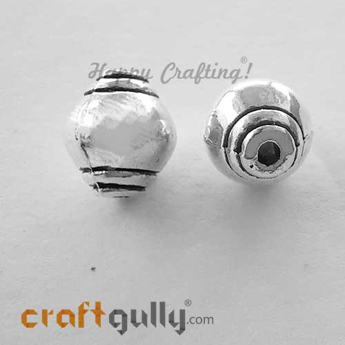 German Silver Beads 9mm - Design #2 - Silver Finish - 2 Beads