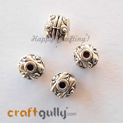 German Silver Beads 7mm - Design #3 - Silver Finish - 4 Beads