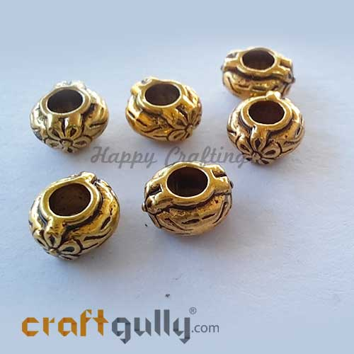 German Silver Beads 4mm - Design #8 - Golden Plating - 6 Beads