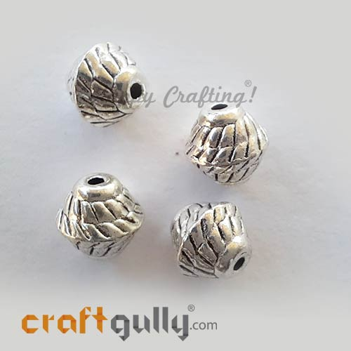 German Silver Beads 7mm - Design #12 - Silver Finish - 4 Beads