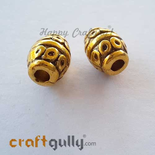 German Silver Beads 8mm - Design #14 - Golden Plating - 2 Beads