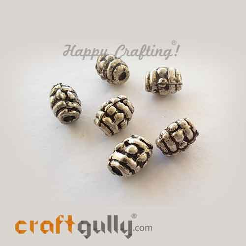 German Silver Beads 6mm - Design #17 - Silver Finish - 6 Beads