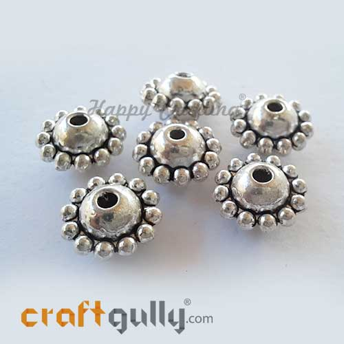 German Silver Beads 9mm - Design #18 - Silver Finish - 6 Beads