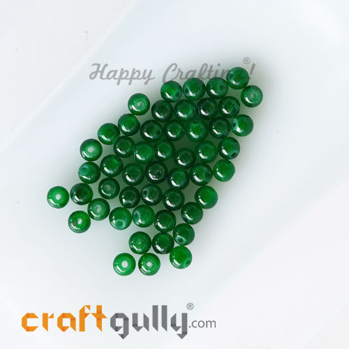 Glass Beads 4mm Round - Trans. Dark Green - 50 Beads