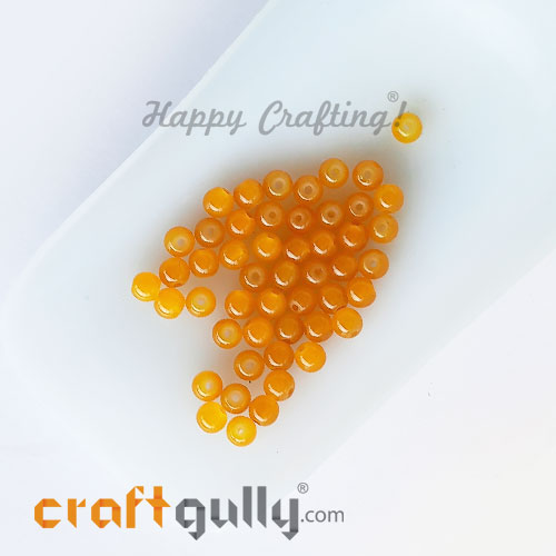 Glass Beads 4mm Round - Trans. Golden Yellow - 50 Beads