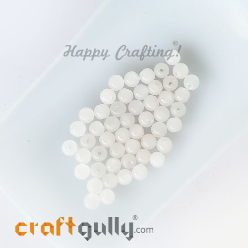 Glass Beads 4mm Round - Trans. White - 50 Beads
