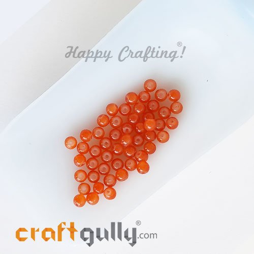 Glass Beads 4mm Round - Trans. Orange - 50 Beads