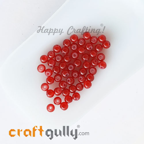 Glass Beads 4mm Round - Trans. Red - 50 Beads
