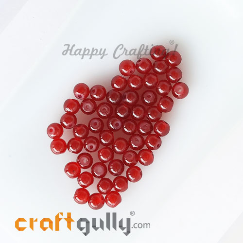 Glass Beads 4mm Round - Trans. Dark Red - 50 Beads