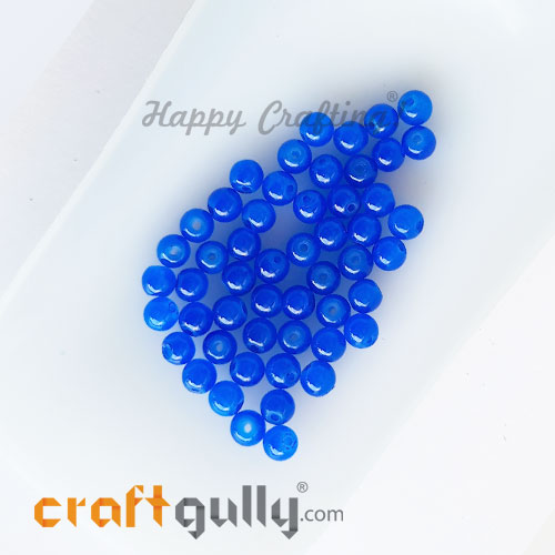 Glass Beads 4mm Round - Trans. Blue - 50 Beads