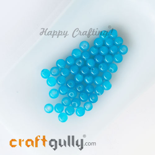Glass Beads 4mm Round - Trans. Light Blue - 50 Beads
