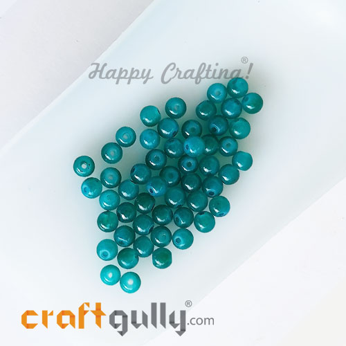 Glass Beads 4mm Round - Trans. Turquoise - 50 Beads