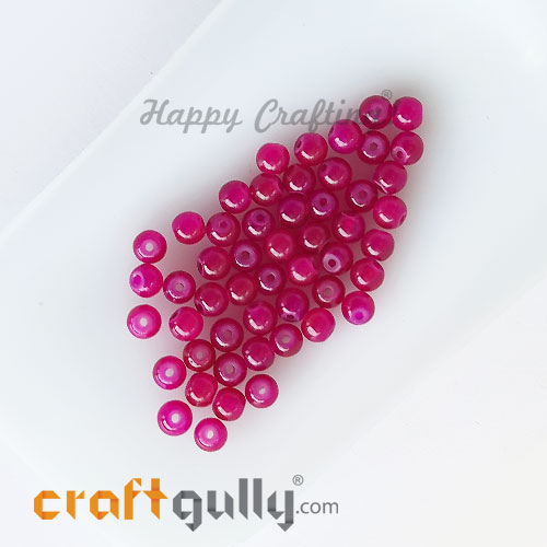 Glass Beads 4mm Round - Trans. Dark Pink - 50 Beads