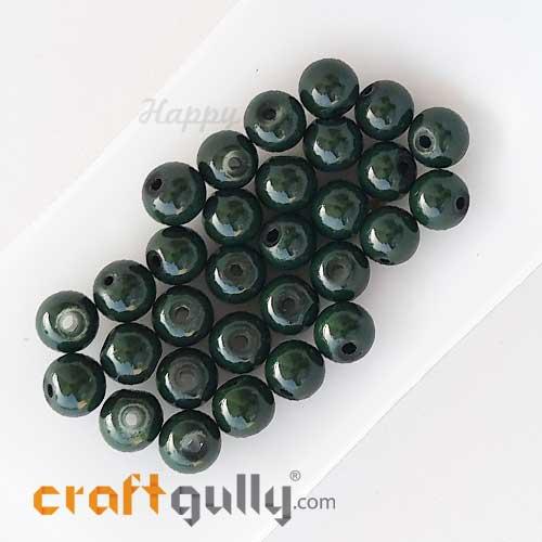Glass Beads 7mm Round - Dark Green - 30 Beads