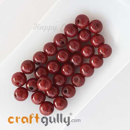 Glass Beads 7mm Round - Dark Red - 30 Beads