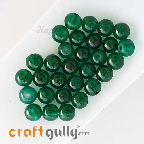 Glass Beads 8mm Round - Transparent Dark Green - 30 Beads