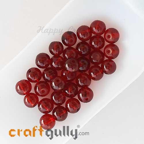 Glass Beads 8mm Round - Transparent Dark Red - 30 Beads