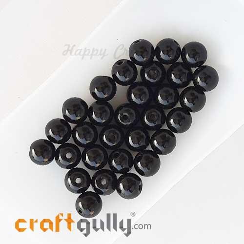 Glass Beads 8mm Round - Black - 30 Beads