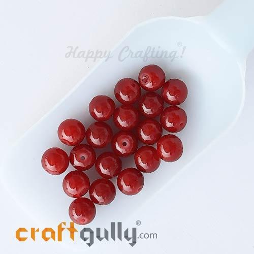 Glass Beads 10mm Round - Dark Red - 20 Beads