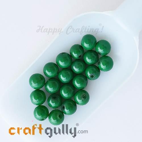 Glass Beads 10mm Round - Green - 20 Beads