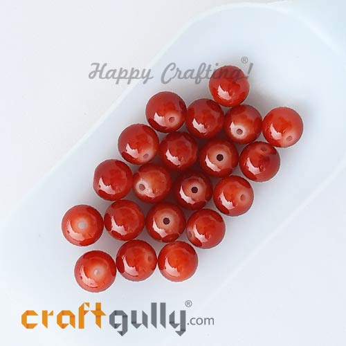 Glass Beads 10mm Round - Vermilion Red - 20 Beads