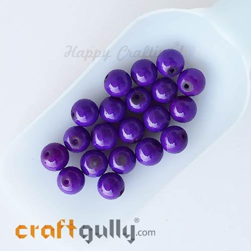 Glass Beads 10mm Round - Purple - 20 Beads