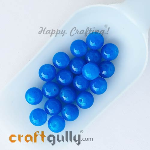 Glass Beads 10mm Round - Speckled Blue - 20 Beads
