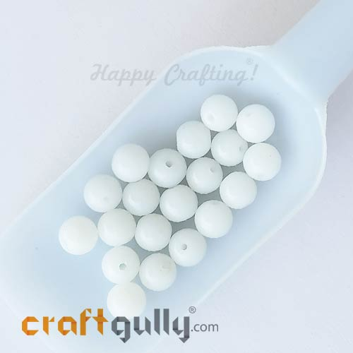 Glass Beads 10mm Round - White - 20 Beads