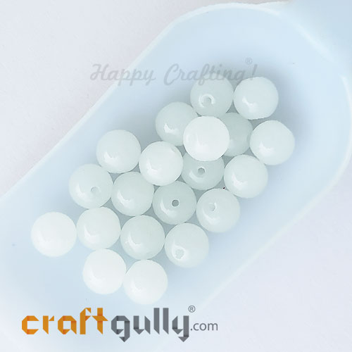 Glass Beads 10mm Round - Trans. White - 20 Beads