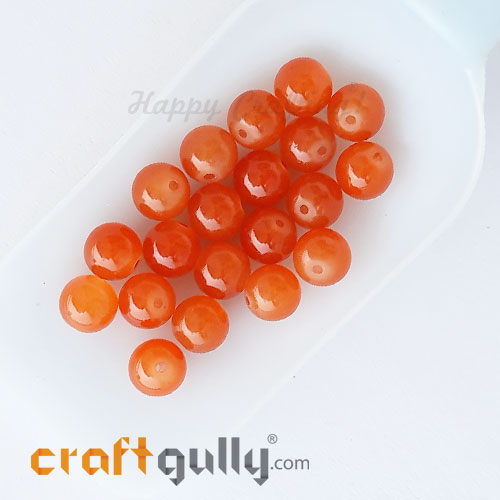 Glass Beads 10mm Round - Trans. Orange - 20 Beads