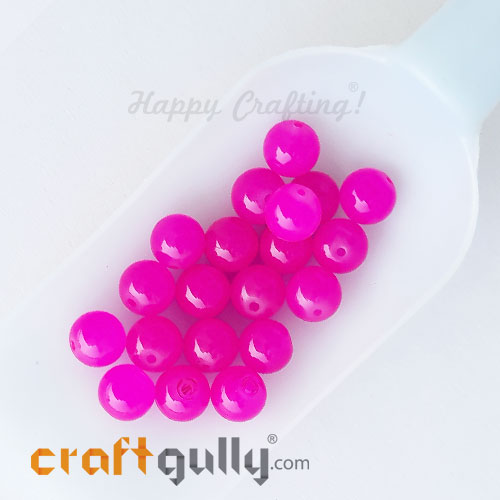 Glass Beads 10mm Round - Trans. Bright Pink - 20 Beads