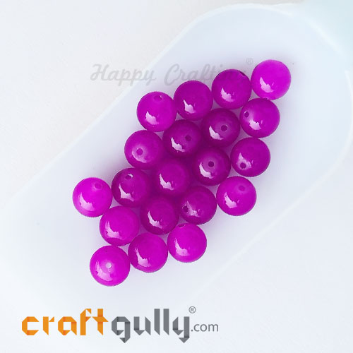 Glass Beads 10mm Round - Trans. Magenta - 20 Beads