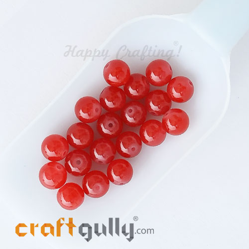 Glass Beads 10mm Round - Trans. Red - 20 Beads