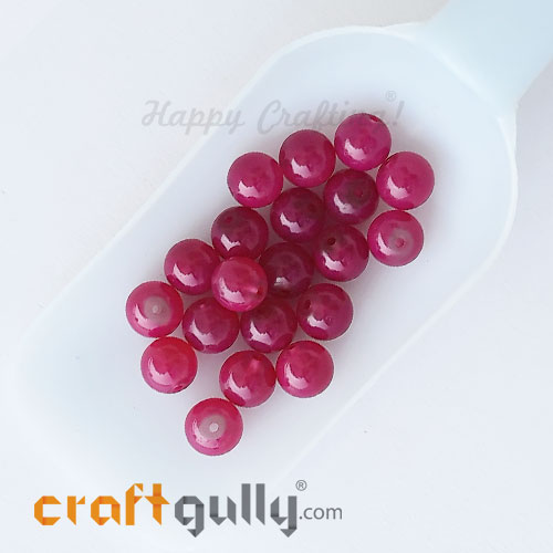 Glass Beads 10mm Round - Trans. Dark Pink - 20 Beads